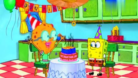 海绵宝宝:海绵宝宝奶奶过生日,到底是有多老,蜡烛都插不下了!