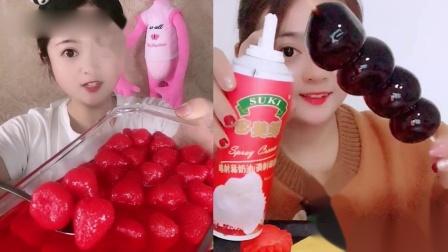 小姐姐试吃:奶油果冻串、草莓罐头,一口超过瘾,我向往的生活