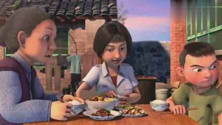 天天成长记:真好啊,东东大口大口的吃妈妈做的菜,太香了!