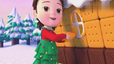超级宝贝:宝宝好开心呀,拿起糖霜挤在屋子上,姜饼屋变更好看啦.