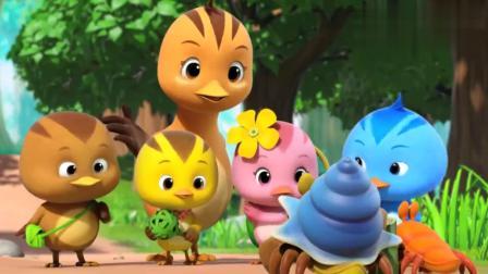 萌鸡小队:寄居蟹哥哥救了小寄居蟹,想不通它怎么待在竹筒里