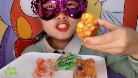 """吃货馋嘴:小姐姐吃手工""""杨桃玉米空心冰"""",是我向往的生活"""