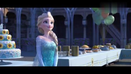 冰雪奇缘:艾莎装扮生日派对,看到雪宝偷吃蛋糕