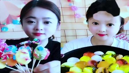 萌姐吃播:彩色蛋糕棒棒糖,彩色糖果巧克力,是我向往的生活