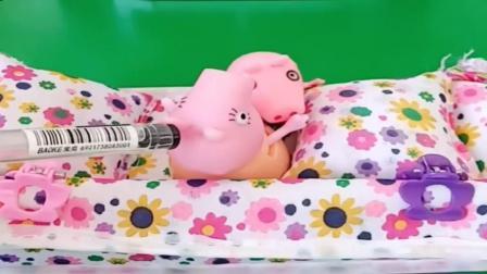 小猪佩奇玩具:乔治要坐猪妈妈身上,猪妈妈要干活乔治都不下来,真是太粘人了
