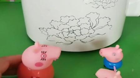 小猪佩奇玩具:猪妈妈给乔治佩奇做豆浆,把他们吵醒了,猪爸爸就给买了个豆浆机