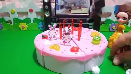 贝儿给白雪做了一个生日蛋糕。
