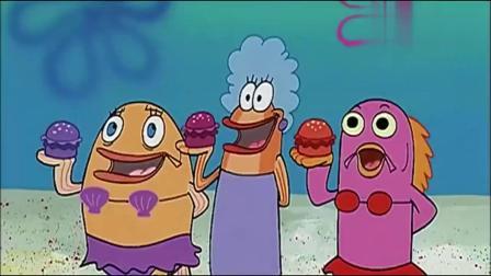 众人在排队等海绵宝宝发钱,于是蟹老板想去说服海绵宝宝回蟹堡王