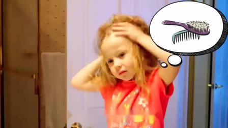 萌娃小可爱真是个爱臭美的小家伙刚起床就要开始化妆萌娃宝宝随时都要保持完美