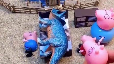 恐龙躺在了乔治床上,大家都以为乔治不见了,结果乔治在地上睡!