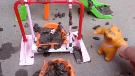 熊二来到了游乐场,发现游乐场太脏了,一件一件的洗干净,熊二真棒!