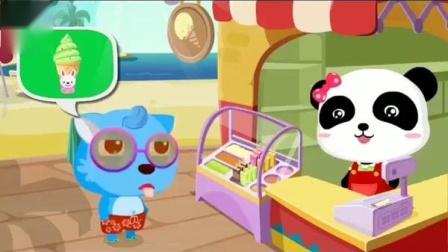 小动物点了一个绿色的冰淇淋 妙妙是冰淇淋店的老板吗?宝宝巴士游戏
