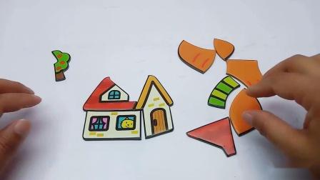 积木拼一个小屋和大萝卜
