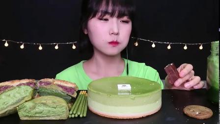 吃播剪说话haeeon|抹茶绿茶慕斯蛋糕,巧克力,味可滋