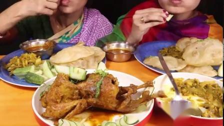 妈妈吃的鸡肉全麦沙拉+荔枝+混合蔬菜,香辣食物