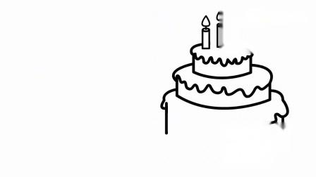 色彩绘画涂鸦早教学颜色,教小朋友学画画给生日蛋糕涂上彩色.mp4