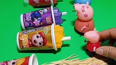 佩奇有一盒吸管糖,乔治的盒子里面怎么是牙签呢,乔治不能吃糖吗