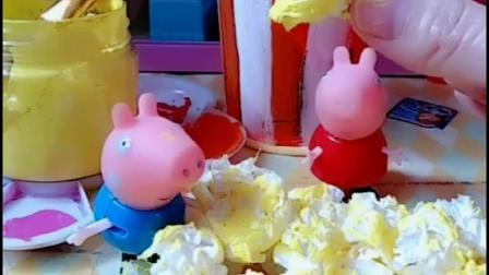 佩奇教乔治做爆米花,做了爆米花桶和爆米花,猪爸爸张嘴就吃了!