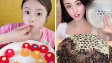 小可爱:彩色果冻小花朵、珍珠奶茶蛋糕,你们小时候吃过吗
