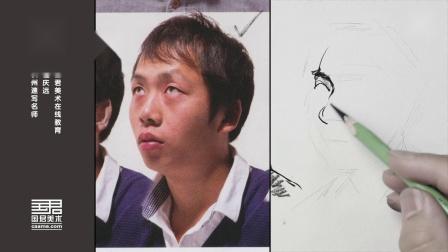 「国君美术」速写小头照片写生,男青年四分之三仰视