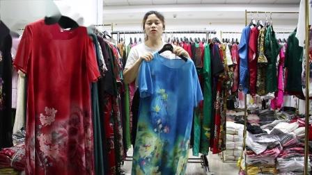 新款女装批发服装批发女装货源时尚女士长款仿真丝面料大版衫连衣裙妈妈装30件一份