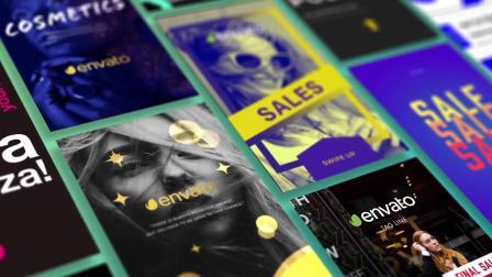 6450-超级运动图形元素色彩背景字幕标签海报排版栏目包装素材包AE模板