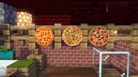 Minecraft动画-him披萨店,披萨太美味怪物学校全员改行做披萨.mp4