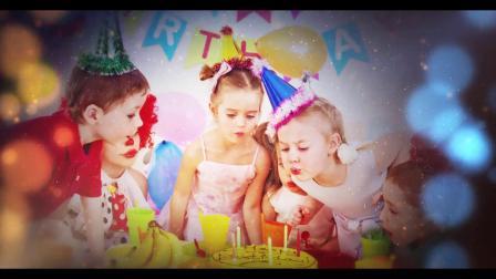 视频制作 BD09可爱儿童周岁生日成长电子相册AE模板宝宝满月百日纪念视频MV制作 ae教程