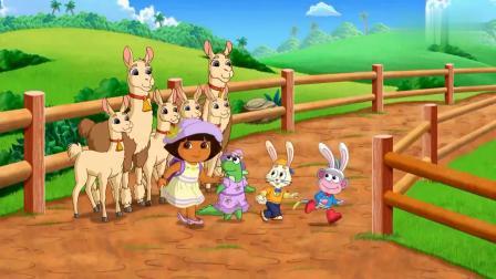 爱探险的朵拉丽萨带着朵拉,一起过农场,农场的动物都好乖