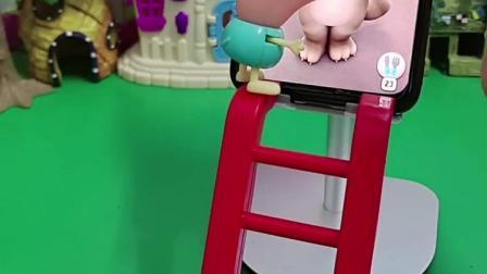 小猫说乔治是大笨蛋,乔治很生气,乔治还拿梯子揍小猫
