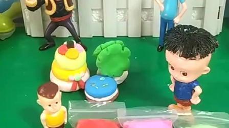 光头强用宝宝买的黏土做了蛋糕,大头也想玩,小头爸爸会给他买吗.mp4