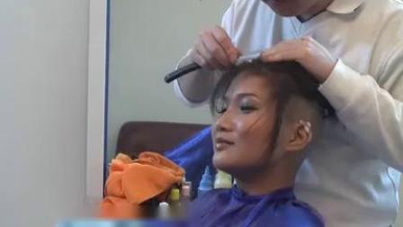 国内美女长发刮后脑勺剃bob头剪长发