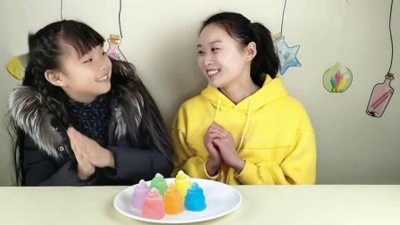 """两吃货吃冰""""生日蛋糕彩冰"""",多彩多味三层的,嚼得嘎嘣脆好冰爽"""