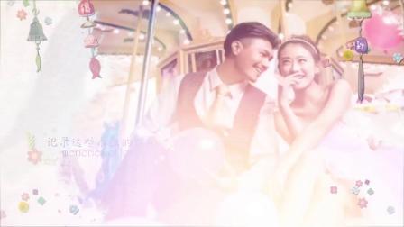 视频制作 1298 唯美浪漫小清新花纹水墨晕染可爱婚礼婚庆结婚相册开场视频AE模板 ae教程