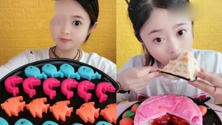 小姐姐直播吃:巧克力小鱼芒果千层蛋糕,一口超过瘾,我向往的生活