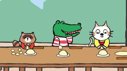 小猫汤米:小饼干真好吃,大家一起来动手,自己劳动才最光荣!