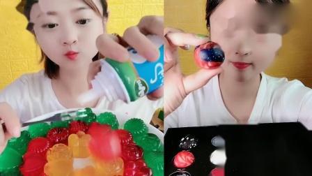萌姐吃播:果冻小拼盘星空巧克力球,一口超过瘾,我向往的生活.