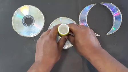 生活小技巧,教你用光盘片和毛线、串珠DIY简单的手工花瓶