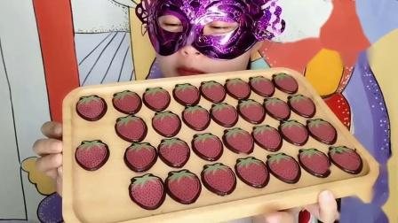 """小妹吃""""草莓巧克力""""创意甜点香甜丝滑,漂亮又美味"""