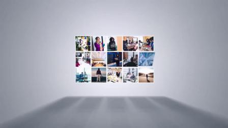 视频制作 1645 超酷照片图片卡片翻转拼接照片墙展示公司企业logo演绎片头ae模板 ae教程