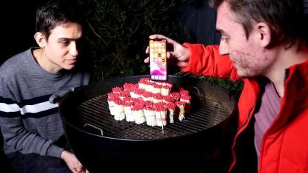 老外用5000根火柴挑战iphone11,点燃的瞬间,场面太刺激了!