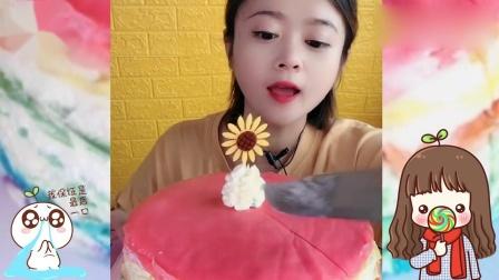 小姐姐吃播:彩虹千层蛋糕,一口超过瘾,是我向往的生活