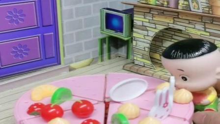 小猪佩奇玩具:大头把小头爸爸的蛋糕全吃完了,爸爸看上去怪怪的