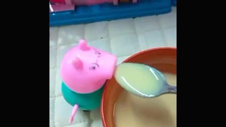 猪爸爸下班了,肚子饿,猪妈妈给猪爸爸做了一碗紫薯粥