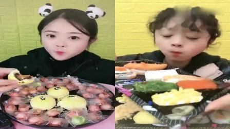 美女直播吃:流心蛋黄酥寿司,看着超满足