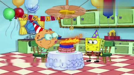海绵宝宝给奶奶过生日,蛋糕上的蜡烛也太多了,只是这谁吹的灭