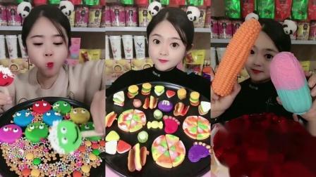 小姐姐直播吃各种口味的的果冻,还有好吃的软糖和大玉米形状的巧克力,你想吃吗?