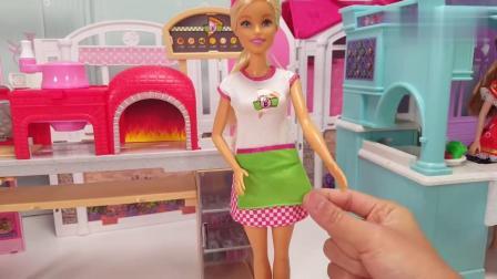 芭比娃娃披萨店玩具套装试玩拆箱,彩泥手工制作披萨饼切好打包