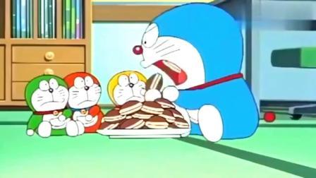 哆啦A梦:主角吃烤肉,蓝胖子请三个小蓝胖子帮忙吃铜锣烧!