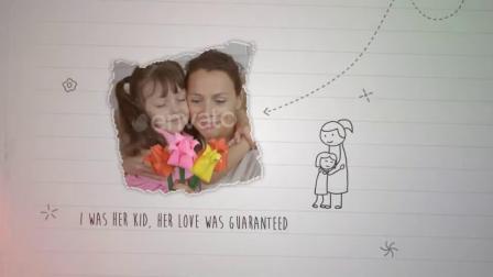 笔记本手绘简笔画图案背景母亲节问候亲子家庭展示动画AE模板.mp4